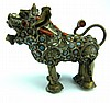 Old Bronze Dog Figure with Coral