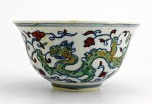 Chinese Qing DouCai Porcelain Cup