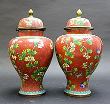 Pair of Chinese JingTaiLan Vase with Lid