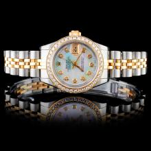 Rolex YG/SS DateJust Ladies 1CT Diamond Wristwatch