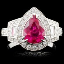18K Gold 2.18ct Ruby & 1.09ct Diamond Ring