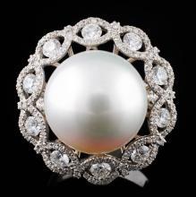 18K Gold 14.00MM Pearl & 1.49ctw Diamond Ring
