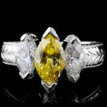 Platinum 2.12ctw Fancy Diamond Ring