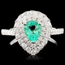 18K Gold 0.52ct Emerald & 0.80ctw Diamond Ring