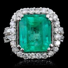 18K Gold 6.67ct Emerald & 1.35ct Diamond Ring