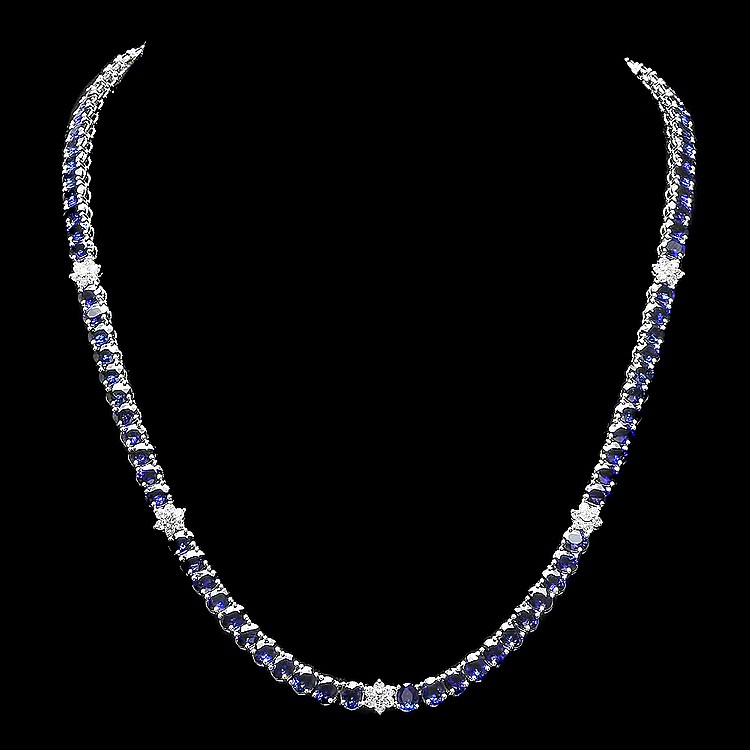 14K WHITE GOLD 40.00CT SAPPHIRE 1.30CT DIAMOND NECKLACE