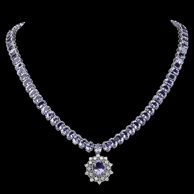 14k Gold 65.5ct Tanzanite 1.00ct Diamond Necklace