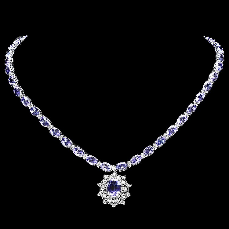14k W Gold 36ct Tanzanite 2.75ct Diamond Necklace