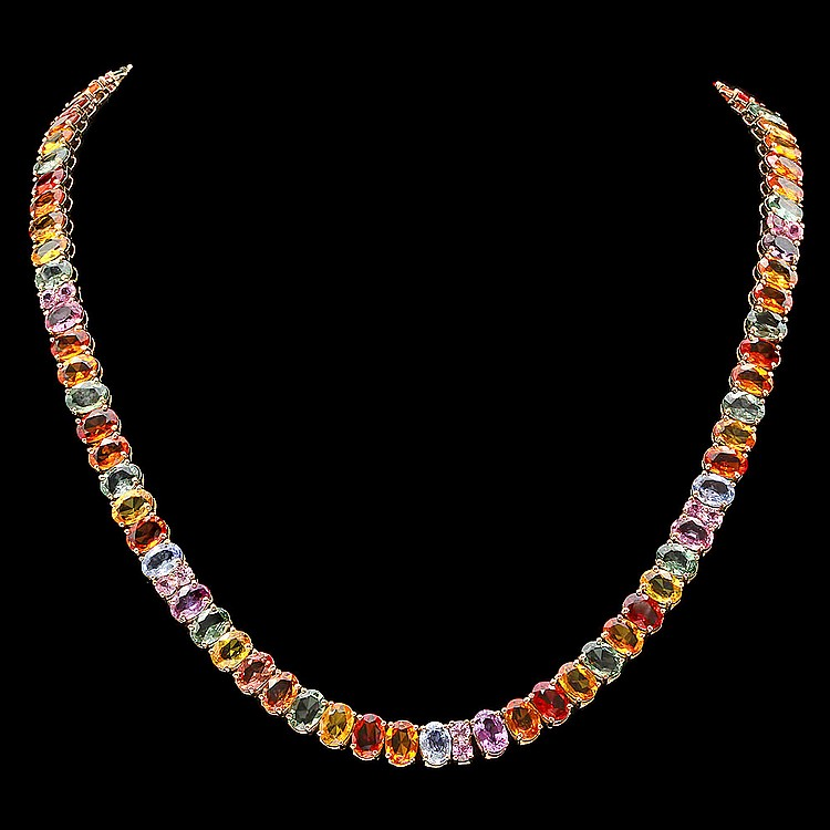 14k Yellow Gold 60ct Sapphire Necklace