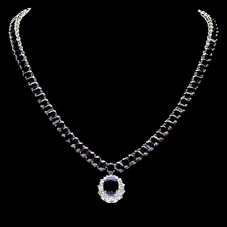 14k Gold 63ct Sapphire 1.40ct Diamond Necklace