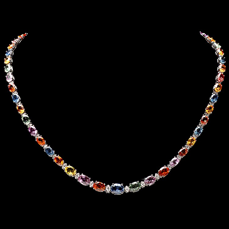 14k Gold 31ct Sapphire 1.20ct Diamond Necklace
