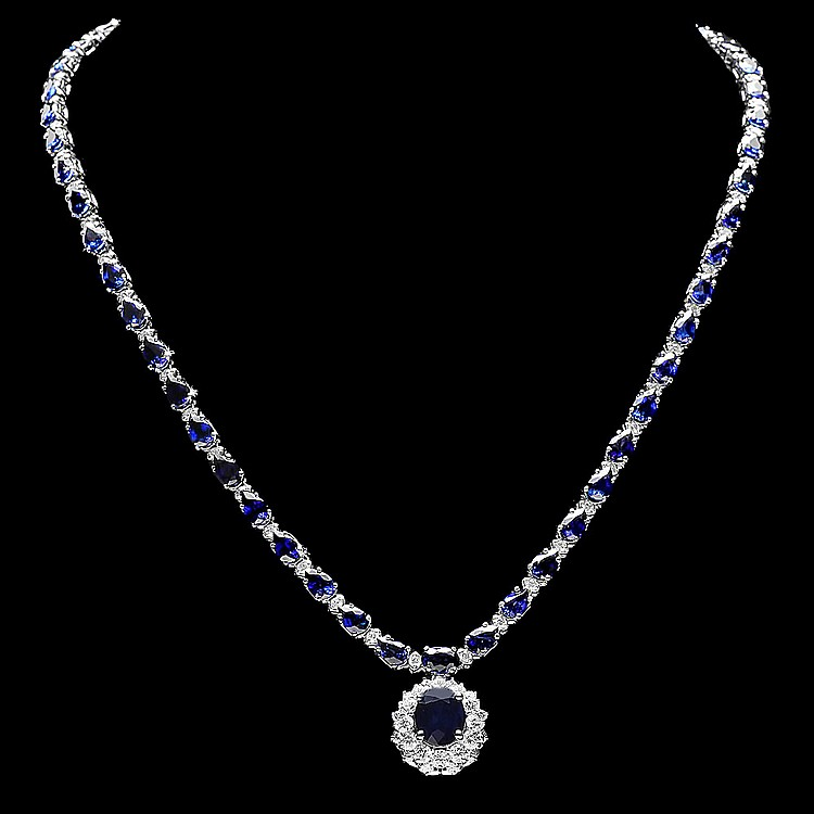 14k Gold 27ct Sapphire 3.35ct Diamond Necklace