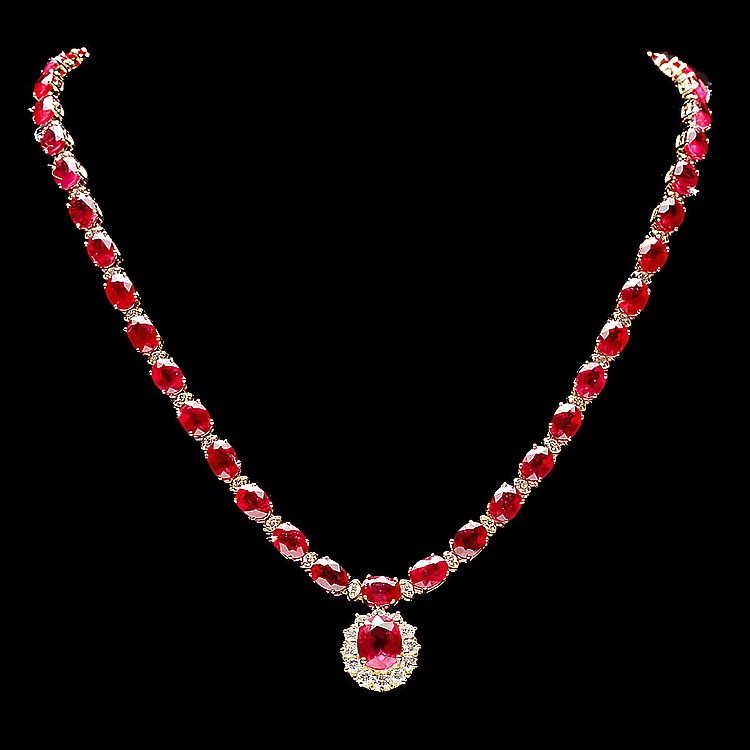 14k Yellow Gold 61ct Ruby 2.50ct Diamond Necklace
