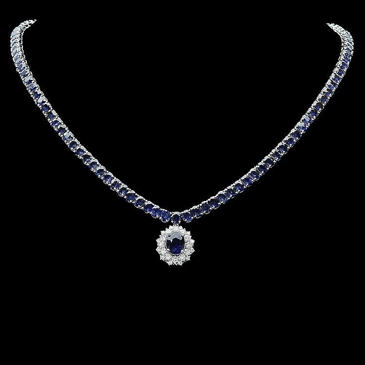 14k Gold 53ct Sapphire 1.50ct Diamond Necklace