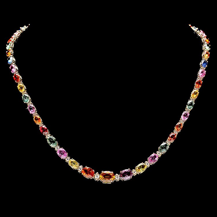14K YELLOW GOLD 33CT SAPPHIRE 1.2CT DIAMOND NECKLACE
