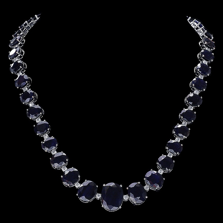 14K WHITE GOLD 143CT SAPPHIRE 4CT DIAMOND NECKLACE