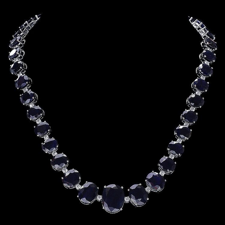 14K WHITE GOLD 143CT SAPPHIRE 4CT DIAMOND NECKLACE