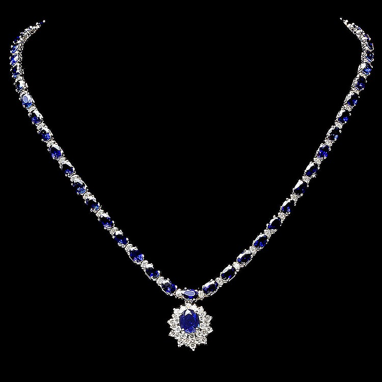 14K WHITE GOLD 29CT SAPPHIRE 2.80CT DIAMOND NECKLACE