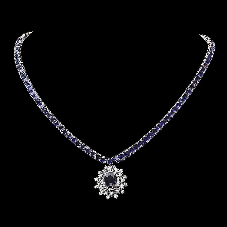 14K WHITE GOLD 44CT SAPPHIRE 1.70CT DIAMOND NECKLACE