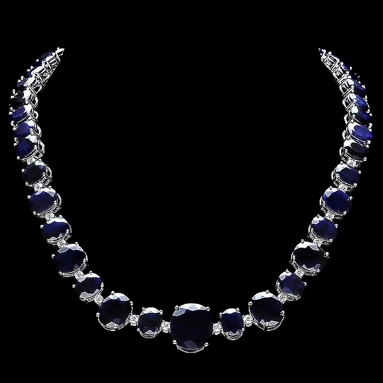 14K WHITE GOLD 165CT SAPPHIRE 1.8CT DIAMOND NECKLACE