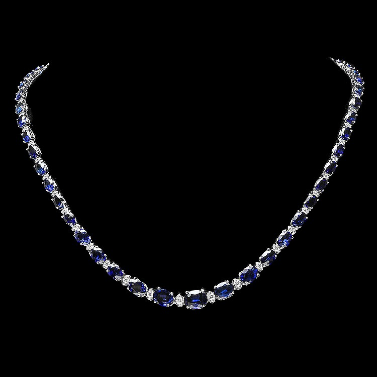 14K WHITE GOLD 37.00CT SAPPHIRE 1.60CT DIAMOND NECKLACE