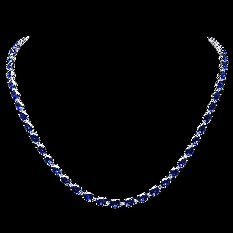 18K WHITE GOLD 30CT SAPPHIRE 1.70CT DIAMOND NECKLACE