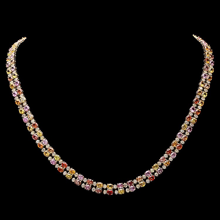 14K YELLOW GOLD 25.00CT SAPPHIRE 3.00CT DIAMOND NECKLACE