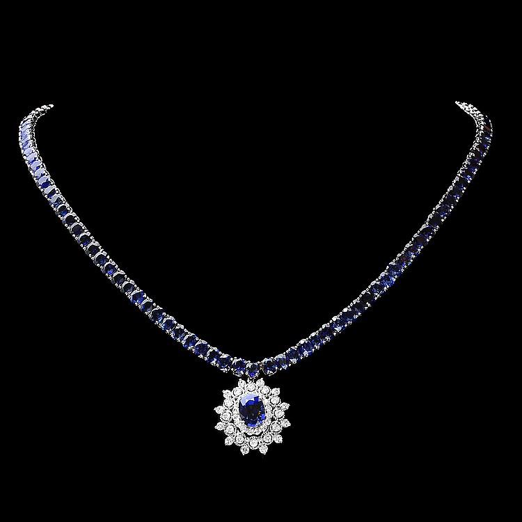 14K WHITE GOLD 45CT SAPPHIRE 1.70CT DIAMOND NECKLACE
