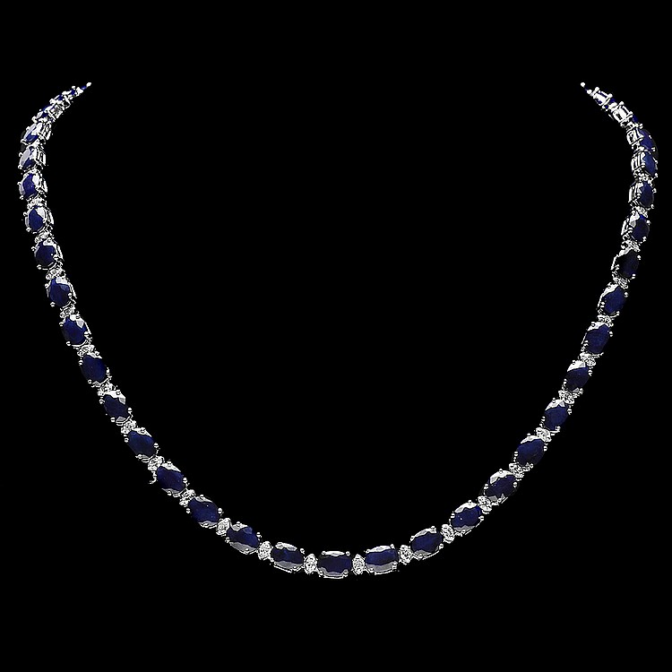 14K WHITE GOLD 40CT SAPPHIRE 2.00CT DIAMOND NECKLACE