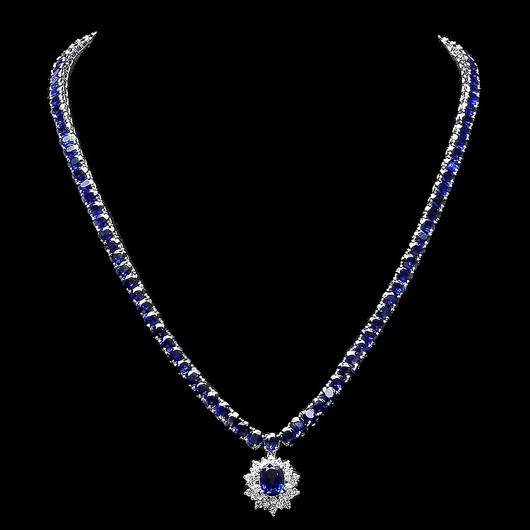 14K WHITE GOLD 53.2CT SAPPHIRE 1.20CT DIAMOND NECKLACE