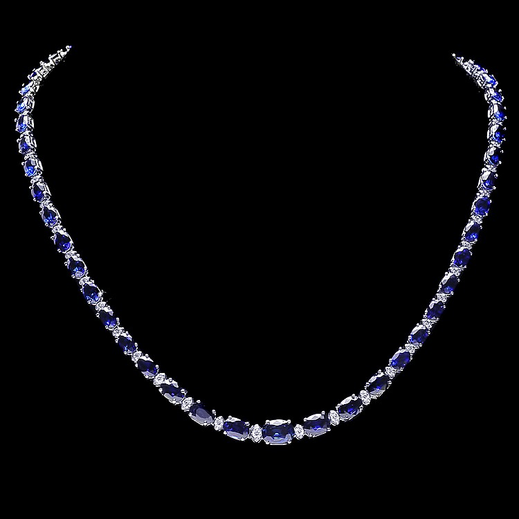 14K WHITE GOLD 30CT SAPPHIRE 1.10CT DIAMOND NECKLACE