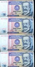 1987 Peru 10 Intis Crisp Unc Note 10pcs Scarce Sequential