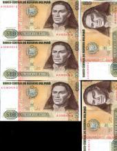 1987 Peru 500 Intis Crisp Unc Note 10pcs Scarce Sequential