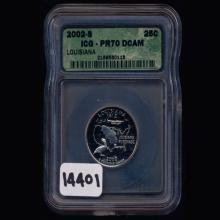 2002S Washington LA Silver 25c Graded GEM PR70