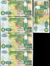 1992 Zambia 20K Crisp Unc Note 10pcs Scarce Sequential
