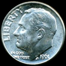 1961D FDR Silver 10c MS65 Full Bands