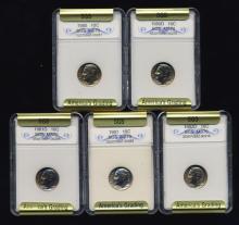1980-82 Roosevelt Dime Set Graded GEMS