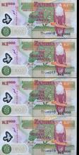 2005 Zambia 1000k Crisp Unc Note 8pcs Scarce Sequential