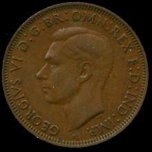 1943M Australia Large Penny Hi Grade AU BV $15