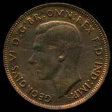 1943P Australia Large Penny Hi Grade MS63 BV $100