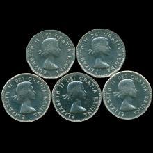 1962-65 Canada 5c Nickel Prooflike MS 63/64 5 pcs