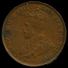1934M Australia Large Penny Hi Grade AU55 BV $60