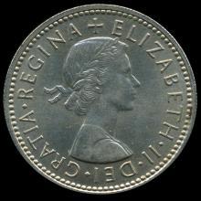 1959 British QE2 1 Shilling Scarce Scottish Rev MS63