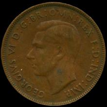 1942P Australia Large Penny Hi Grade AU BV $15