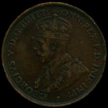 1912H Australia Large Penny Hi Grade XF BV $25
