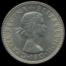 1959 British QE2 1 Shilling Scarce Scottish Rev MS65