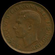 1943P Australia Large Penny Hi Grade AU+ BV $30