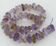 565twc Purple Green Faceted Amethyst Crystal Strand
