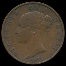 1858/7 Great Britain Overdate 1/2 Penny XF