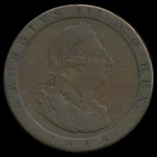 1858/7 British Victoria Halfpenny XF
